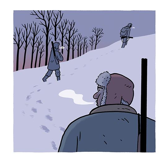 Cazadores en la nieve